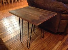 Barn Wood Table repurposed from reclaimed wood & steel hairpin legs, by RusticTrip