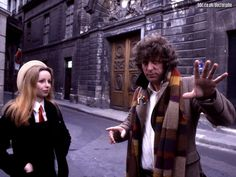 Lalla Ward as Romana and Tom Baker as the Doctor on Rue Vieille du Temple in Paris for 1979's 'City of Death', written by Douglas Adams #doctorwho