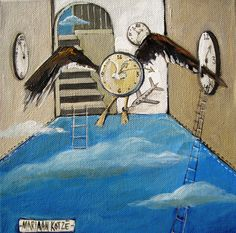 """Time series by Mariaan Kotze """"Tempus Fugit / Time Flies"""" Furniture Decor, Painted Furniture, Time Series, South African Artists, Wood Watch, Decorative Items, Paintings, Illustration, Wooden Clock"""