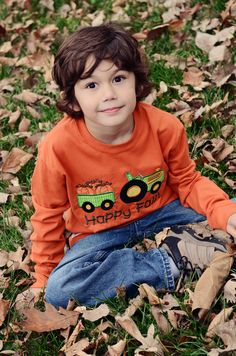 Custom Boutique Tractor Harvest Fall Appliqued Embroidered Fall Applique Tee 2T 3T 4T 5T. $24.99, via Etsy.