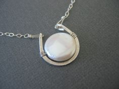 Sterling Silver Necklace Coin Pearl Necklace by JulianaWJewelry, $38.00