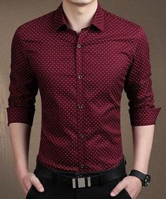 Mens Dress Shirts Spring Autumn New Cotton Long Sleeve Business Men Shirt Slim Polka Dot – Men's style, accessories, mens fashion trends 2020 Formal Dresses For Men, Formal Men Outfit, Formal Shirts For Men, Casual Shirts, Men Shirts, Stylish Shirts, Dress Formal, Shirt Men, Style Brut