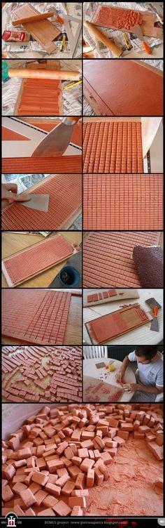 ton in scheiben schneiden auf ein Brett ausrollen und schneiden, etwas abfeilen, bzw. schleifen.