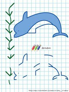 dolfijn rekenen en tekenen Drawings On Lined Paper, Graph Paper Drawings, Graph Paper Art, Games For Kids, Art For Kids, Blackwork, Pixel Art, Crafts To Make, Crafts For Kids