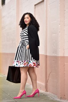 Plus size fashion inspiration — cute black and white striped and floral dress from Modcloth. Love those hot pink heels! // Girl With Curves Curvy Outfits, Plus Size Outfits, Fall Outfits, Doll Dress Patterns, Shirt Patterns, Clothes Patterns, Curvy Fashion, Girl Fashion, Plus Size Fashion Tips