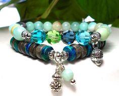 Amazonite Bracelet, Boho Bracelet, Swarovski Bracelet, Beaded Bracelet, Boho Chic Bracelet, Gypsy Bracelet, Gemstone Bracelet