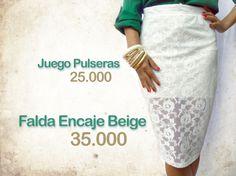 Falda tubo beige encaje $35.000. Juego pulseras beige-dorado $25.000