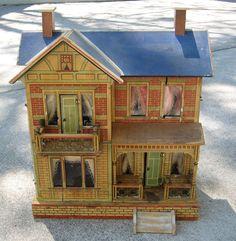 Antique German Gottschalk Blue Roof paper litho 4 room doll house from sondrakruegerantiques on Ruby Lane