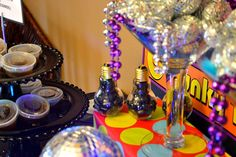 Disco balls in glass container