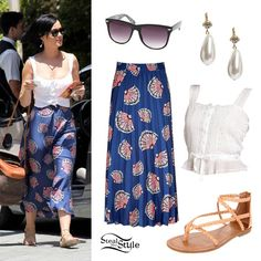 Katy Perry went out for a stroll in a white lace-up top and a blue maxi skirt with a pink fan print. She kept things casual with flat sandal, wayfarer sunglasses, and a leather and woven bag. #KatyPerry #Outfit