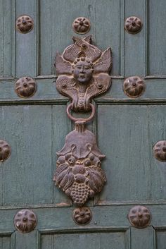 South America, Angel door knocker, Cuzco, Peru.
