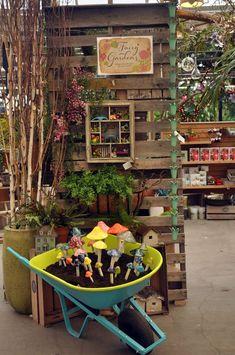 Fairy Garden Display Idea ** Check out the image by visiting the link. Fairy Garden Display Idea ** Schauen Sie sich das Bild an, indem Sie Garden Nursery, Plant Nursery, Merchandising Displays, Store Displays, Retail Displays, Window Displays, Deco Cafe, Garden Center Displays, Organic Gardening Tips