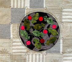 Kitchen wall art decor Pink Radish  Art Quilt by BozenaWojtaszek, $250.00