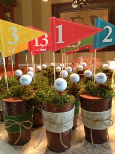 Cute golf centerpieces for a gofer's party! More at #lorisgolfshoppe