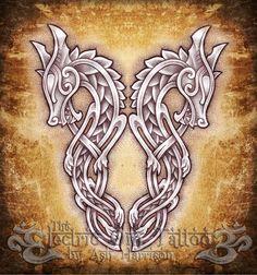 Celtic Knotwork Dragons by VillKat-Arts