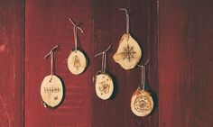 Natural Wood Burned Christmas Ornaments Set by TheWhimsyBeehive, $25.00