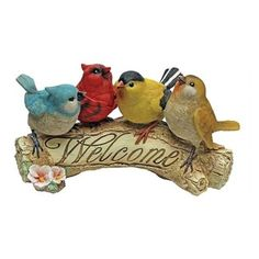 """EttansPalace - Bird Sparrow Welcome Garden Sculpture Statue - From The Acorn Hollow Garden Statuary Collection; You can roll out the welcome mat with these adorable birds who'd love to pose in home or garden. Our Design, bird welcome statue, complete with four adorable birds, is sculpted 360 degrees for an even """"chirpier"""" welcome! Cast in quality designer resin, this bird welcome sculpture is hand-painted as the perfect house-warming gift with a little bit of garden hospitality! Another ..."""