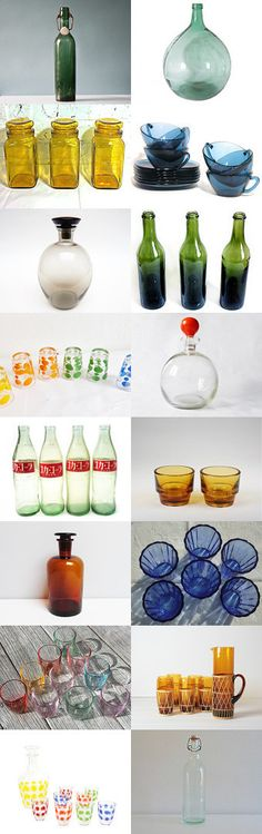 Transparences... by the Vintage France Team members by Lucile on Etsy--Pinned with TreasuryPin.com #Etsy #VintageFinds #vintage #FrenchVintage #glass #transparent #bottle #vintagefr