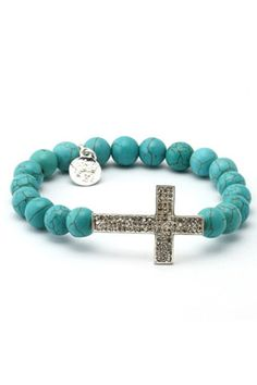 King ICE Turquoise with Cross Mala Bracelet