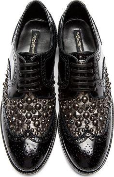 Dolce & Gabbana - Black Stud & Crystal Accent Brogues | SSENSE