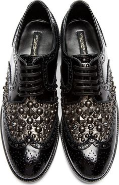 Dolce & Gabbana - Black Stud & Crystal Accent Brogues.