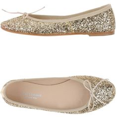 Paolo Simonini Ballet Flats ($146) ❤ liked on Polyvore featuring shoes, flats, gold, ballerina flat shoes, ballet flats, leather sole shoes, glitter flat shoes and ballerina shoes