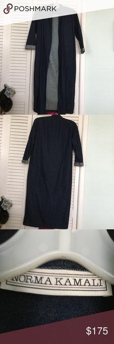 Vintage Norma Kamali Denim maxi coat Vintage Norma Kamali Denim maxi coat. Color dark denim. Size S. Shoulder pads. Perfect condition Norma Kamali Jackets & Coats Trench Coats