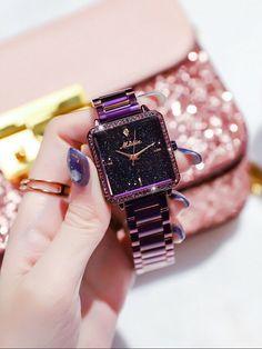 Fashion Women Romantic Starry Sky Austrian Rhinestones Square Leather Belt Watch 7