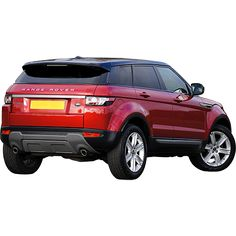 Every good front has a back. This is an expertly cutout photo of a red range rover taken from the back view.