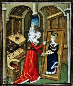 Unknown Artist from Boccaccio (1313-1375) De claris mulieribus, Anonymous French Translantio, Le livre de femmes nobles et renomees, France c 1440 British Library  When creating the female artist character of Marcia for his book, Boccaccio (1313-1375) used as his prototype, the famous female painter of ancient Greece called Iaia of Kyzikos (late 2nd – early 1st century BC; from the city which is currently Cyzicus.