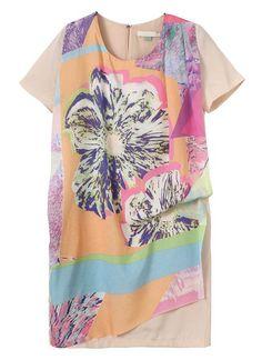 Apricot Short Sleeve Floral Asymmetrical Dress - Sheinside.com
