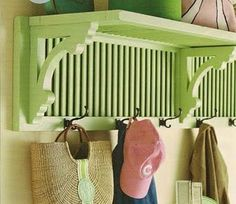 Create an entryway shelf plus coat rack by repurposing a pair of old shutters and wooden brackets. Now I just need to find some old shutters. Repurposed Furniture, Diy Furniture, Furniture Design, Repurposed Items, Recycled Decor, Shutter Shelf, Shutter Doors, Window Shutter Crafts, Creating An Entryway