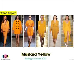 Trendy Colors for SS 2015: Mustard Yellow (autumn shades).  CG, Emilio Pucci, Gucci, Cushnie et Ochs, Costello Tagliapietra, Emilia Wickstead Spring Summer 2015.