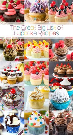 The Great Big List of Cupcake Recipes – a sweet collection of 200 delectable cupcakes that you'll want to bake and shovel into your mouth. # cupcake cakes The Great Big List of Cupcake Recipes Food Cakes, Mini Cakes, Cupcake Cakes, Big Cupcake, Cup Cakes, Cute Cupcake Ideas, Cupcake Piping, Lollipop Cake, Cupcake Toppers