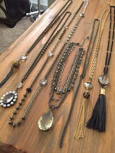 Assorted one of a kind necklaces.