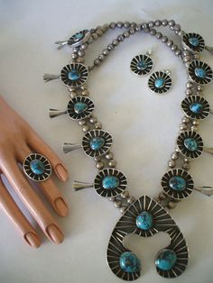 Avant Garde Vintage NAVAJO Sterling Silver & Turquoise SQUASH BLOSSOM Set, RING, EARRINGS, NECKLACE.  TurquoiseKachina, $1449.00