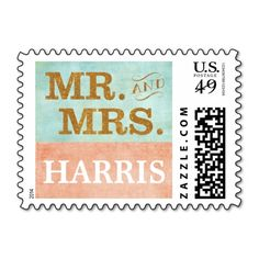 Mint Gold Coral Mr. and Mrs. Wedding Stamp