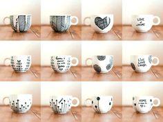 Glass art diy sharpie painted mugs 17 Ideas for 2019 Mugs Sharpie, Sharpie Paint, Sharpie Crafts, Diy Mugs, Sharpies, Sharpie Markers, Tape Crafts, Ceramic Painting, Diy Painting