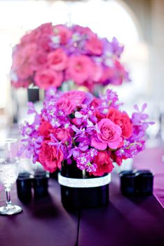 Pink & purple wedding table centerpieces  #Purple wedding receptions ... Wedding ideas for brides, grooms, parents & planners ... https://itunes.apple.com/us/app/the-gold-wedding-planner/id498112599?ls=1=8 … plus how to organise an entire wedding, without overspending ♥ The Gold Wedding Planner iPhone App ♥