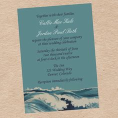 Ocean Wave Wedding Invitation and Response by DecorableDesigns on Etsy 15.00