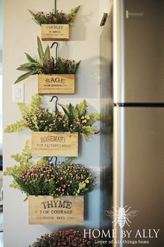 decor steals herb boxes filled with mums farmhouse fall home tour Do It Yourself Decoration, Herb Wall, Kitchen Herbs, Kitchen Garden Ideas, Creation Deco, Herbs Indoors, Home Landscaping, Farmhouse Wall Decor, Wall Decor For Kitchen