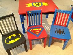 For the playroom Superhero Chairs- instead of children's chairs, find thrift store dining set chairs and paint or gold leaf ensign as on the top bar of the back a la university chairs Kids Furniture, Painted Furniture, Boys Bedroom Furniture, Upscale Furniture, Furniture Design, Modern Furniture, Painted Wooden Chairs, Painted Tables, Wooden Bar