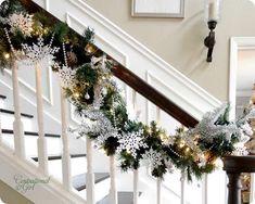 christmas decor on the banister.