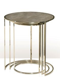 THEODORE ALEXANDER STAINLESS STEEL NESTING TABLES