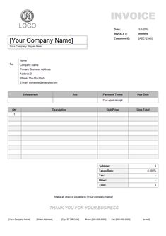 Job Invoice Sample Taxable Column For Uniform Invoice Software