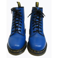 Vintage Dr Martens Boots From England Pre-Owned Blue Leather 8 Eyelet Air Wair Doc Martens Combat Boots Wms US Size 8 featuring polyvore women's fashion shoes boots ankle booties blue combat boots dr martens boots low heel booties military boots army boots