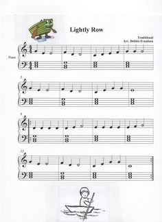 Lightly Row with basic block chords for Let's Play Music and piano students. We play: gee fdd cdefggg geee fddd ceggeee. Walk right up the scales with me. Skip skip skip and back again. Lets Play Music, Music For Kids, Piano Songs, Piano Music, Piano Lessons, Music Lessons, Piano Teaching, Learning Piano, Easy Piano Sheet Music