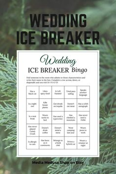 Bridal Shower Ice Breaker Game Forest Green Wedding Human image 3 Wedding Party Games, Wedding Ideas, Ice Breaker Bingo, Human Bingo, Green Bridal Showers, Forest Theme, Green Theme, Ice Breakers, Bingo Cards