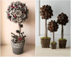 Cones are a natural material for which you can find many applications. They are ideal for various do Pine Cone Christmas Decorations, Christmas Crafts To Sell, Outside Decorations, Christmas Diy, Christmas Wreaths, Acorn Crafts, Pine Cone Crafts, Flower Crafts, Diy Flowers