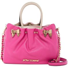 Betsey Johnson In A Pinch Satchel ($65) ❤ liked on Polyvore featuring bags, handbags, fushia, betsey johnson, pink handbags, chain handle handbags, handbag satchel and drawstring handbags